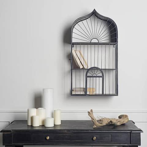 Mercana Crowberry Black Metal Decorative Shelf - 10.0L x 15.9W x 29.7H