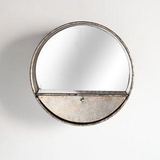 Mercana Frota Gold Circle Mirror Wall Shelf