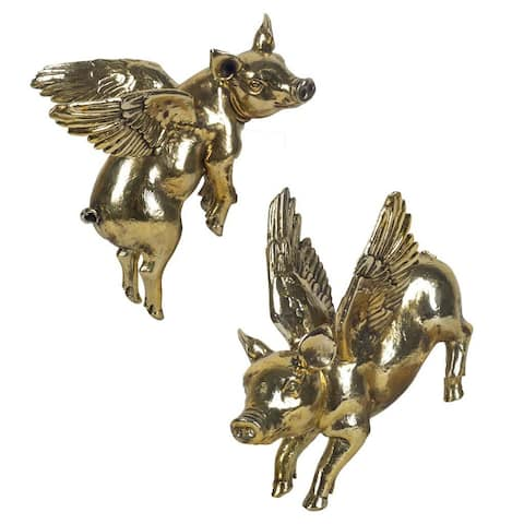 Mercana Hogbadi IV Gold Resin Flying Pigs Wall Decor (Set of 2)