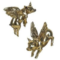 Mercana Hogbadi IV Gold Resin Flying Pigs Wall Decor (Set of 2)