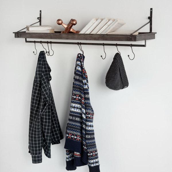 Mercana Gresham Brown Shelf with Hooks
