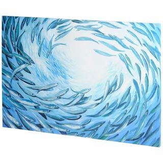 Mercana Circle of Fish Tails Blue Wood Wall Art