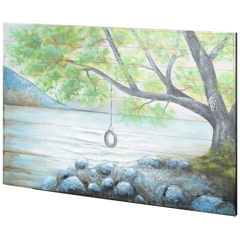 Mercana Harmond Lake Blue Wood Wall Art