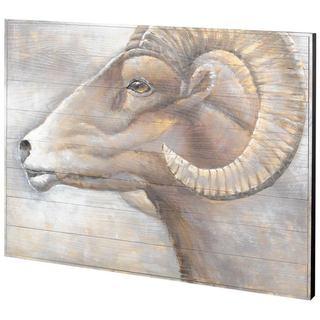 Mercana BigHorn Stance Brown Wood Wall Art