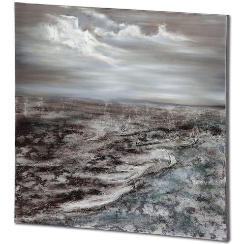 Mercana White Rock Grey Canvas Wood Wall Art