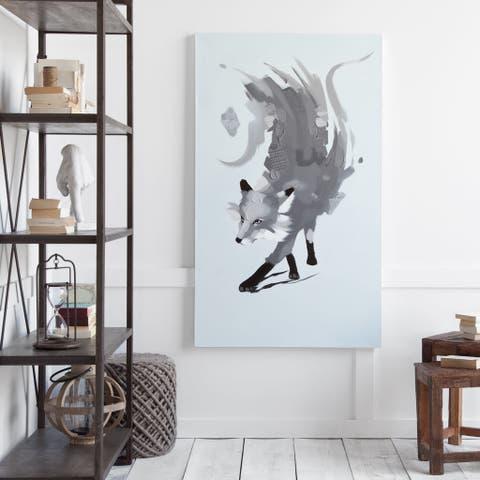 Mercana Fuegofox Grey Canvas Wood Wall Art