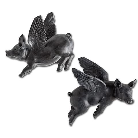 Mercana Hogbadi II Black Resin Flying Pigs Wall Decor (Set of 2)