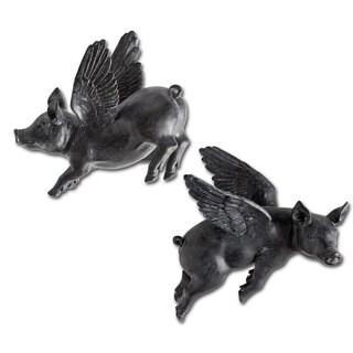 Mercana Hogbadi II Black Resin Flying Pigs Wall Decor (Set of 2)