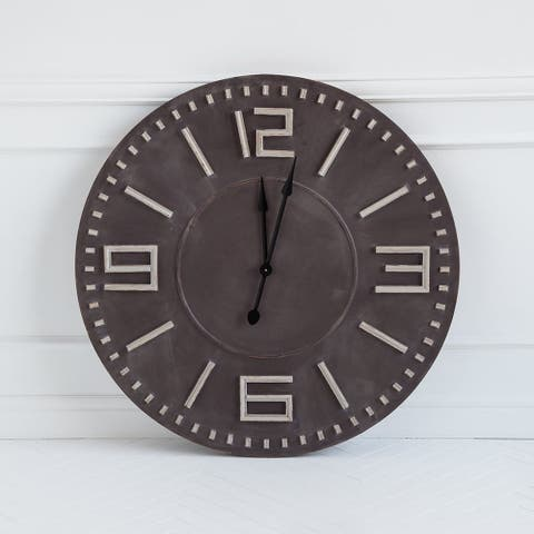 "Mercana Devonshire II 42"" Round Oversize Industrial Wall Clock - 42.0L x 3.0W x 42.0H"