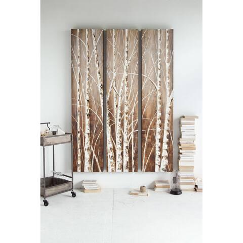 Mercana 'Evening Dusk' White Wood Triptych Art