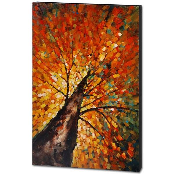 Shop Mercana Autumn Rising Orange Wood Wall Art - Free Shipping ...