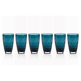Highball Glass, Dimpled Design, Midnight Blue (Set of 6)