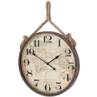 Mercana Tavistock Brown Metal Map Hanging Wall Clock