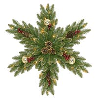 "National Tree Company 32"" Glittery Gold Dunhill Fir Snowflake with Battery Operated LED Lights"
