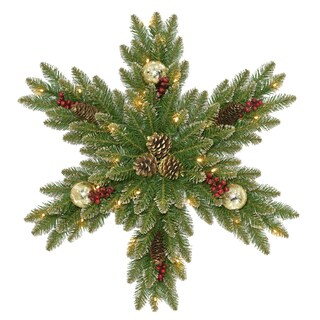 """National Tree Company 32"""" Glittery Gold Dunhill Fir Snowflake with Battery Operated LED Lights"""
