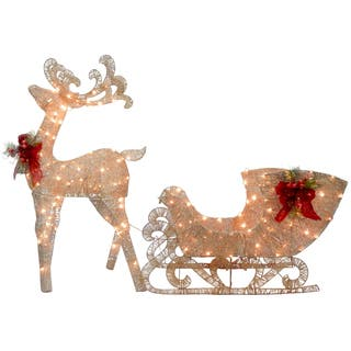 accent type outdoor christmas decorations sale reindeer and santas sleigh with led lights