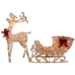 reindeer and santas sleigh with led lights - Metal Christmas Decorations