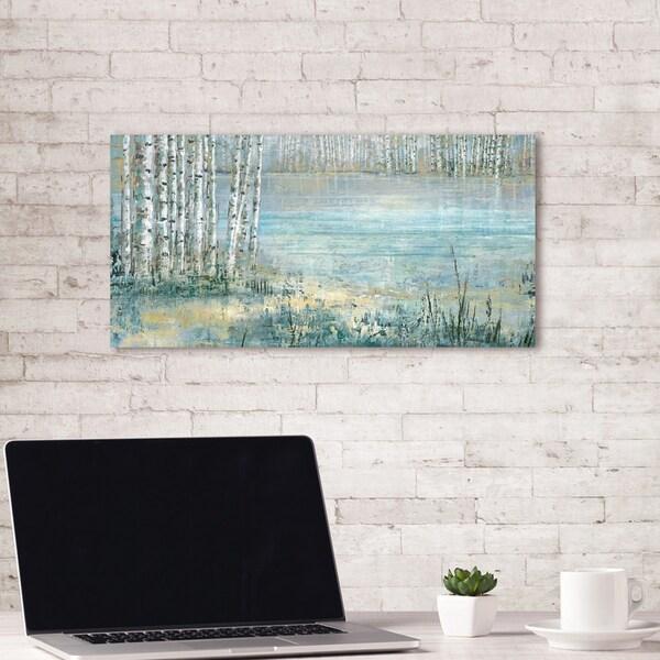 Portfolio Canvas Decor Lake Trees Blue by PSDesign Wrapped Canvas Wall Art