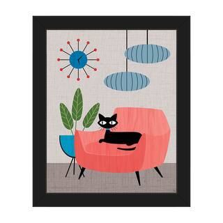 Retro Cat & Clock Mod Framed Canvas Wall Art Print