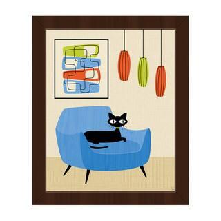 Retro Chair Black Cat Framed Canvas Wall Art Print