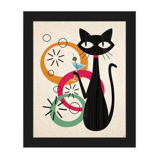 Retro Martini Cat Mod Framed Canvas Wall Art Print