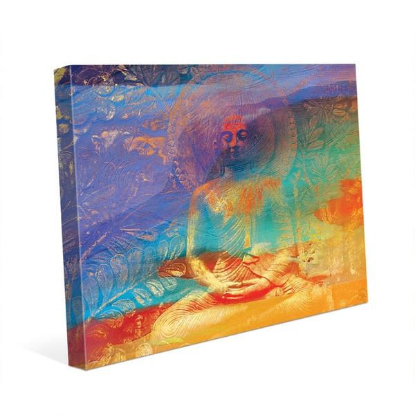 Hazy orange buddha abstract wall art canvas print
