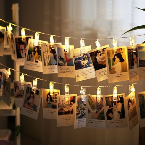 1.2M 10 LEDs Card Photo Clip String Light 50000 Hours Lifespan Powered by 2*AA batteries
