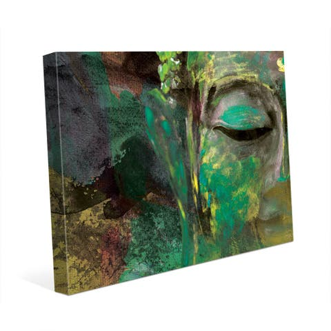 Green Abstract Buddha Wall Art Print on Canvas