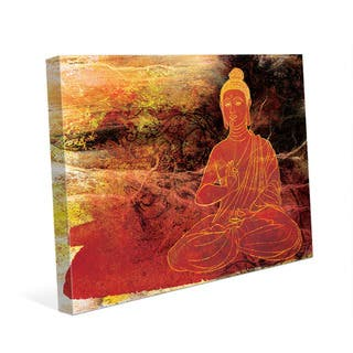 Rust Lotus Buddha on Brown Wall Art Canvas Print