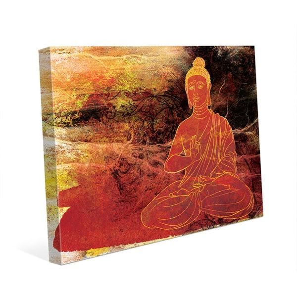 Rust Lotus Buddha On Brown Wall Art Canvas Print