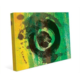 Green Painted Ring Abstract Wall Art Canvas Print