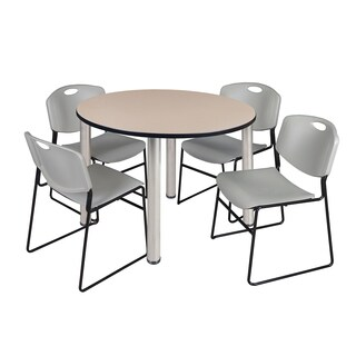 "Kee 48"" Round Breakroom Table- Chrome & 4 Zeng Stack Chairs- Grey"