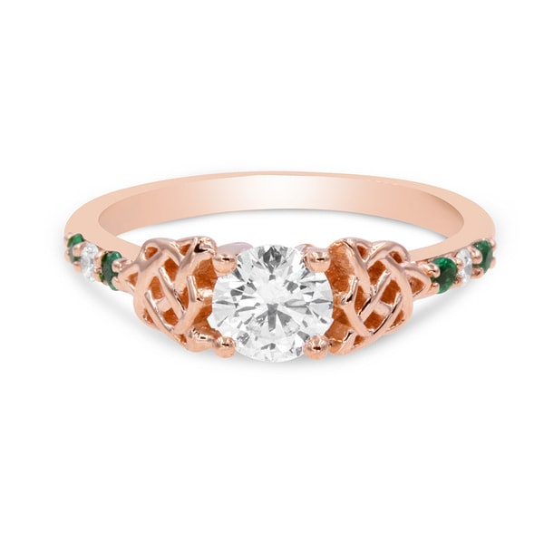 Shop 0.65 Carat Round Cut Diamond & Green Emerald Celtic ...