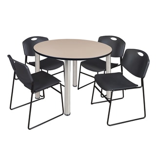 """Kee 48"""" Round Breakroom Table- Chrome & 4 Zeng Stack Chairs- Black"""