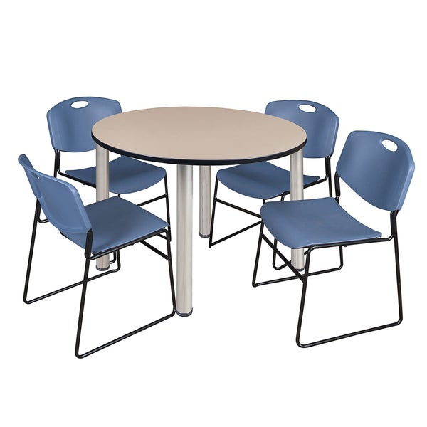 """Kee 48"""" Round Breakroom Table- Chrome & 4 Zeng Stack Chairs- Blue"""