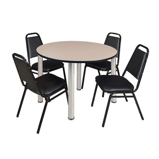 "Kee 48"" Round Breakroom Table- Chrome & 4 Restaurant Stack Chairs- Black"