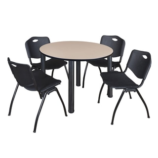 """Kee 48"""" Round Breakroom Table- Black & 4 'M' Stack Chairs- Black"""