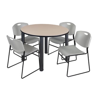 """Kee 48"""" Round Breakroom Table- Black & 4 Zeng Stack Chairs- Grey"""