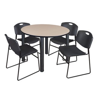 """Kee 48"""" Round Breakroom Table- Black & 4 Zeng Stack Chairs- Black"""