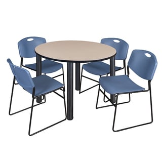 """Kee 48"""" Round Breakroom Table- Black & 4 Zeng Stack Chairs- Blue"""