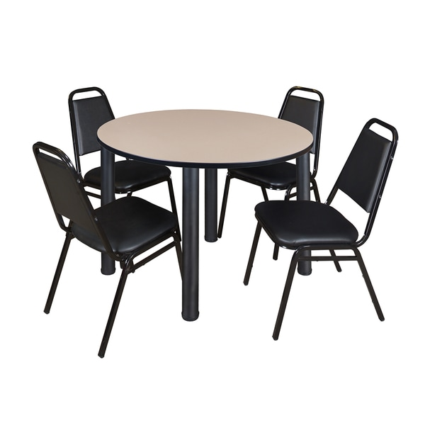 """Kee 48"""" Round Breakroom Table- Black & 4 Restaurant Stack Chairs- Black"""