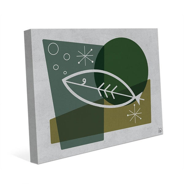 Fish in Green Mod Art Wall Art Print on Canvas