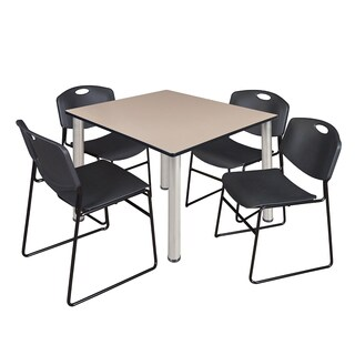 "Kee 48"" Square Breakroom Table- Chrome & 4 Zeng Stack Chairs- Black"