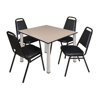 """Kee 48"""" Square Breakroom Table- Chrome & 4 Restaurant Stack Chairs- Black"""