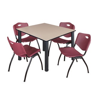 """Kee 48"""" Square Breakroom Table- Black & 4 'M' Stack Chairs- Burgundy"""