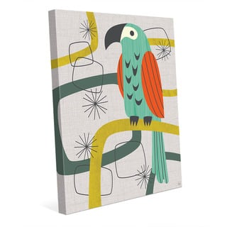 Retro Parrot in Green Wall Art Print on Canvas
