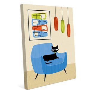 Retro Blue Chair Black Cat Wall Art Canvas Print