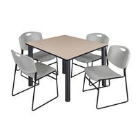"""Kee 48"""" Square Breakroom Table- Black & 4 Zeng Stack Chairs- Grey"""