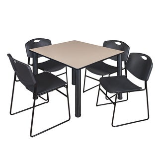 """Kee 48"""" Square Breakroom Table- Black & 4 Zeng Stack Chairs- Black"""