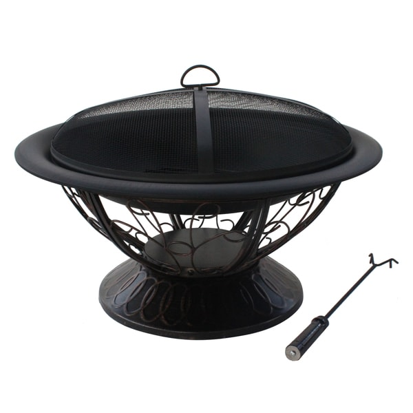 Shop Jeco Steel 30 Inch Round Scroll Fire Pit Free